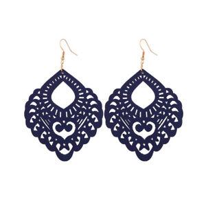 Floral Lattice Wood Statement Earrings Bohemia Hollow Wood Fashion Women Jewelry