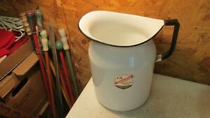 Old U S Enameled Ware Water Pitcher- White & Black  Nice