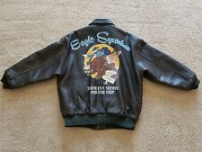 AVIREX JACKET WWII STYLED HAND PAINTED EAGLE SQDN ACE NOSE ART AND PATCHES!