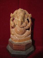 Ganesha Statue Vintage DETAILED Carved wood God Figurine Delicate Ornate Lovely