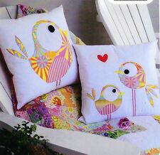 PATTERN - Pip and Ellie - cute birds applique pillow PATTERN - Claire Turpin