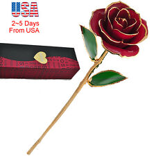 US! Long Stem Dipped 24k Gold Foil Trim Rose Gift Valentine's Day & Mother's Day