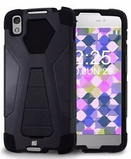 Alcatel One Touch IDOL 4 Tough Armor Slim Hybrid Silicone Kickstand Case BLACK