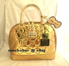 HELLO KITTY CON 40th Anniversary LOUNGEFLY Gold Mirror Embossed Bag Handbag NWT