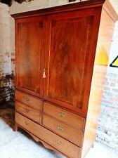 More details for victorian mahogany linen press/wardrobe