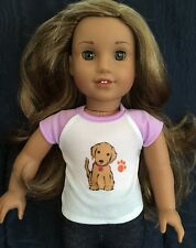 Custom Made American Girl Doll Tee Shirt-w Golden Retriever Honey Dog New!