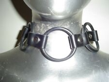 LEATHER COLLAR With RUBBER HOOPS PUNK GOTHIC FETISH COSTUME