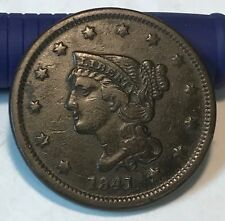 1841 large cent , VF