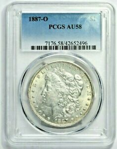 1887-O $1 Morgan Silver Dollar PCGS AU58 (1106-1) 99c NO RESERVE  Witter Coin
