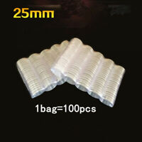 100pcs 25mm Clear Round Coin Case Capsules Container Holder Storage Case Plastic