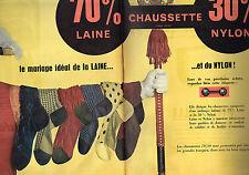 PUBLICITE ADVERTISING 025  1958  Les chaussettes homme LAINE & NYLON ( 2p)