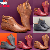 Womens Vintage Leather Flat Ankle Boots Casual Winter Comfort Hook Loop Shoes US