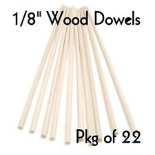 "WOOD DOWELS ~ 1/8"" Diameter x 12"" Long  { Lot of 20 } ~ by  PLD"