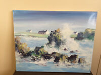 tableau ancien huile sur toile FREDDY LAMARD (XXe-s) mer agitée