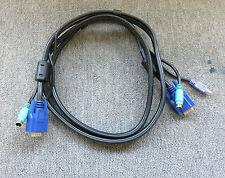 Negro Cobre 1.5 M KVM VGA macho a macho Cable Conector de Teclado Ratón PS/2