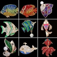 Fish Animals Full Crystal Rhinestone Pearl Enamel Brooch Pin Womens Jewellery