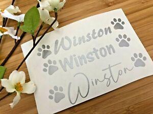 2 x personalised Dog / Cat bowl Dish vinyl decal sticker, waterproof Paw print
