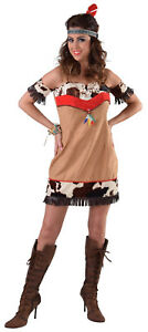 Sexy Indianer Kleid Kostüm Squaw Apache Sioux Indianerin Cow Girl Indianerkostüm