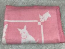 Vintage Baby Girl Blanket Pink White Scotty Dog Terrier 37x49 Flaws Age Wear