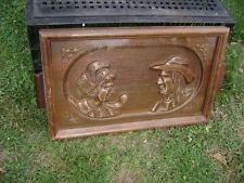 Old French wooden serving tray carved  oak Breton couple glass top