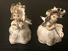 Set of 2 Vintage Lefton China Bloomer Flower Girl Figurines Parasol, Kw10531