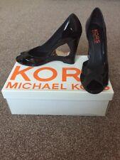Michael Kors Danger Size 6 (8m) Black Patent Wedge Cut Out Peep Toe Worn once