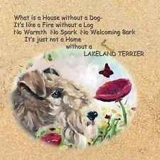 More details for lakeland terrier dog striking design print hardboard plaque tile sandra coen art