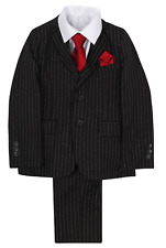 BRAND NEW BOYS FORMAL 5 PIECE SUIT BOY PROM WEDDING SUIT IN BLACK AGES 1 TO 15