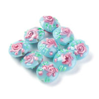 5pcs Handmade Lampwork Glass Beads Coin Embossed Flower SkyBlue Big Spacers 18mm