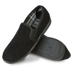 Mens Black Slippers Comfy Warm soft Corduroy Non Slip sole Size 7 8 9 10 11 12