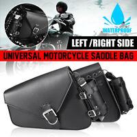 Motorcycle Saddle Bag Tool Bag W/ Bottle Holder PU Leather For Harley Davidson