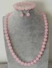 8mm Natural Pink Rose Quartz Gemstone Round Bead Necklace Bracelet Earrings Set