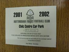 30/01/2002 Ticket: Nottingham Forest v Portsmouth [Civic Centre Car Park] (folde