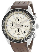 Fossil BQ2063 Off White Dial Brown Leather Strap Chronograph Mens Watch