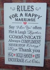 Rules for a happy marriage wedding gift 12x8 wooden plaque vintage sign