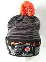 NWT Adidas Philadelphia Flyers NHL Hockey Black Cuffed Pom Knit Beanie Cap Hat