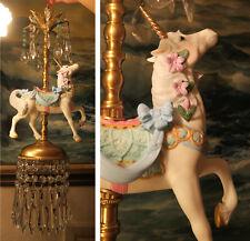 White porcelain Carousel Unicorn bow ribbon Lamp SWAG Chandelier Vintage Horse