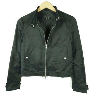 Theory Womens Tatiana B Moto Cropped Jacket Size Small Black Zip Up Snap Button