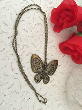 ANTIQUE GOLD / BRONZE BUTTERFLY NECKLACE