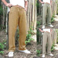 Summer Men's Casual Cotton Linen Baggy Harem Pants Beach Yoga Hippy Trousers UK