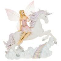 Fairyland Unicorn With Fairy Leaping Rainbow Resin Ornament Figure Gift