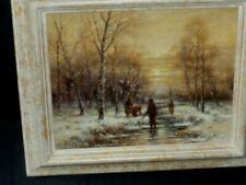 Winterliches Treiben am Bach vor Dorf in Abenddämmerung Signiert Galeriegemälde