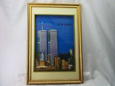 NEW YORK CITY  SKYLINE TWIN TOWERS WORLD TRADE CENTER 3D COLLAGE FRAMED