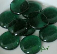 Jumbo Emerald Green Crystal Clear ~ 10 Glass Gems Mosaic Tile Tiles