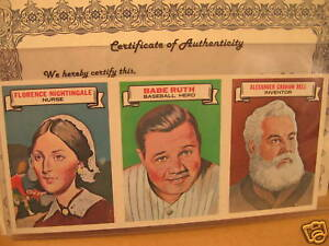 1967 Topps Who am I ? Uncut Strip w/ Babe Ruth Yankees MINT!