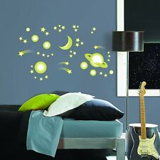 GLOW in the DARK SPACE 46 Big Wall Decals STARS MOON PLANETS Room Decor Stickers