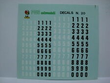 1/43 DECALS NUMERI NERI E BIANCHI MISURE mm 5 - mm 6