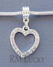 One Dangle bead Pendant Crystal Heart Fits European Charm Bracelet/Necklace S18