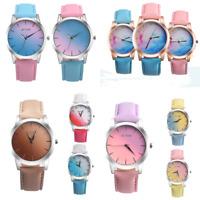 Unisex Fashion Retro Rainbow Design Leather Band Analog Alloy Quartz Wrist Watch