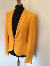 Zara Jacket Large Yellow Orange Blazer Spring Summer Herringbone Smart Work